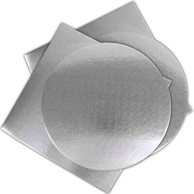 £7.01 • Buy 4 X LARGE SILVER CAKE BOARDS Round & Square 10  EXTRA STRONG Base Wedding Party