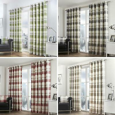 Balmoral Lined Eyelet Curtains Tartan Check Ready Made Ring Top Curtain Pairs • 46.95£