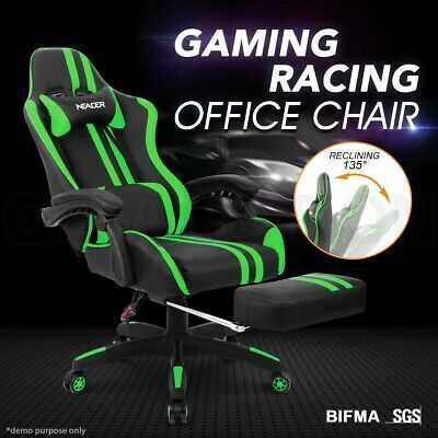 AU249.95 • Buy PU Leather Ergonomic Gaming Racing Office Computer Chair With Footrest GR & BK
