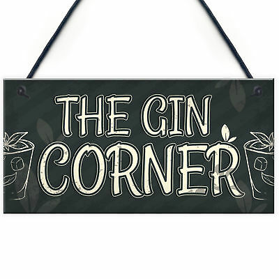 £3.99 • Buy Gin Corner Garden Sign Gin & Tonic Plaque Funny Alcohol Home Bar Pub Sign Gifts
