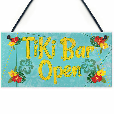 Tiki Bar Open Hanging Bar Plaque Beer Cocktail Beach Decoration Sign Friend GIFT • 3.99£