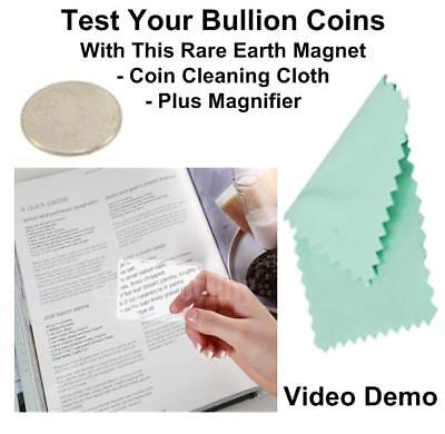 Silver Britannia Testing Magnet Test For Real Silver Coin + Coin Cleaning Cloth • 4.95£