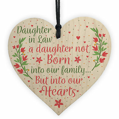Son And Daughter In Law Wedding Day Birthday Christmas GIFTS Wood Heart Plaque • 3.99£