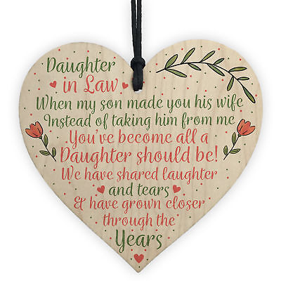 Daughter In Law Birthday Christmas GIFTS Wooden Heart Plaque Mum Daughter Son • 3.99£