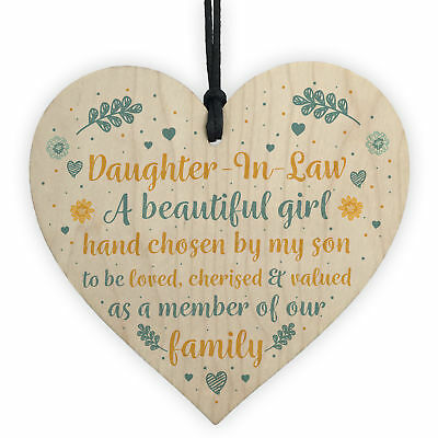 £3.99 • Buy Daughter In Law Gift Handmade Wooden Heart Plaque Birthday Friendship Sign