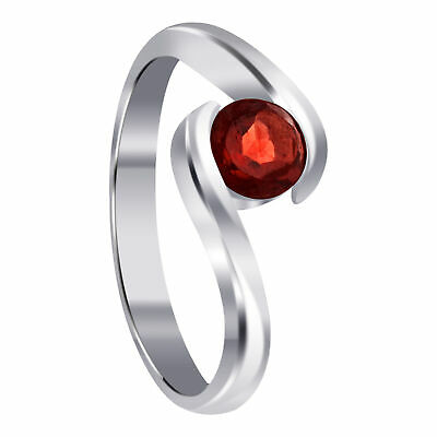 $12.99 • Buy Sterling Silver Red Cubic Zirconia Round Solitaire Promise CZ Ring Size 5 - 9