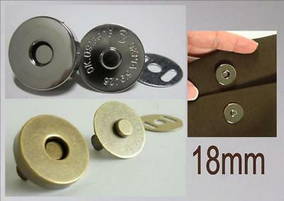 MAGNETIC SNAP FASTENERS 18mm Handbag Closure NO TOOL NEEDED Antique Gold Silver • 2.45£