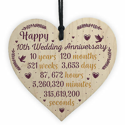 Handmade Wooden Heart Plaque 10th Wedding Anniversary Gift For Her Him Husband • 3.99£