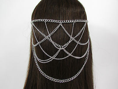 £17.86 • Buy New Women Waves Metal Head Chain Hair Piece Pins Jewelry Claws Gold Silver Black