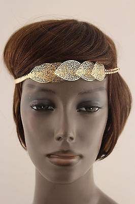 £14.90 • Buy New Women Metal Head Band Chain Big Leaves Hair Lady Fashion Jewelry Gold Silver