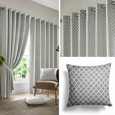 Grey Eyelet Curtains Lined Geometric Jacquard Ready Made Ring Top Curtain Pairs • 23.95£