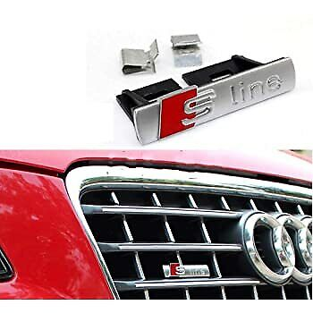 £5.99 • Buy 1 X Audi Silver S Line Front Grill Grille Badge Styling For A1/A3/A4L/A5/Q5, Car