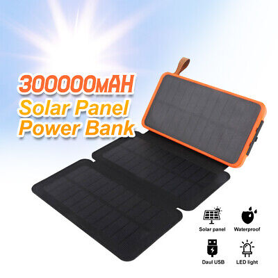 AU29.86 • Buy 300000mAh Waterproof Portable Solar Charger Dual USB External Battery Power Bank