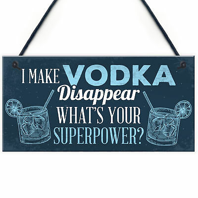 £3.99 • Buy Funny Make Vodka Disappear Alcohol Gift Man Cave Home Bar Wall Plaque Pub Sign