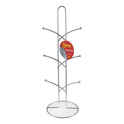 Stainless Steel 6 Cup Mug Tree Stand Holder Table Top Kitchen Storage Rack  • 6.49£