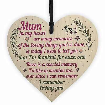 £3.99 • Buy Mum Gifts From Daughter Son Wood Heart Plaque Birthday Christmas THANK YOU Gift