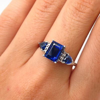 Signed 925 Sterling Silver Lab-Created Sapphire & Diamond Accent Ring Size 8 • 42.45£
