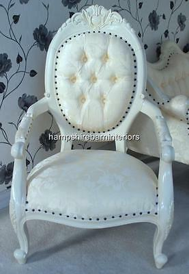 Chair W Arm Painted In French Antique White Ornate Carved  Free Delivery • 350£