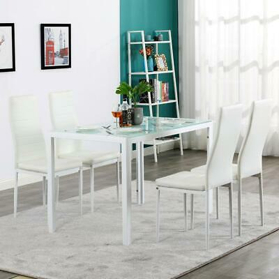 $189.99 • Buy 5 Pieces Dining Table White Glass Table And 4 Chairs Faux Leather Dinning Set