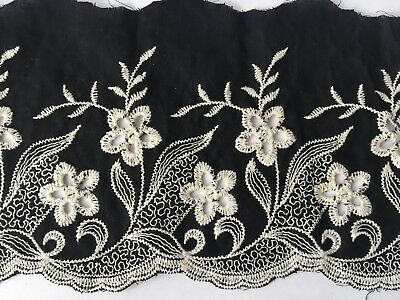 Black Cotton Embroidery Lace Fabric DIY  Material Width 10 Cm 1 Yard • 3.89£