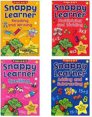 Set 4 Snappy Learner Educational Books 6-8 Year Olds Maths Spelling Read Writing • 7.95£