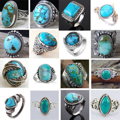 $ CDN1.44 • Buy Women Men 925 Silver Ring Vintage Turquoise Wedding Engagement Party Size 6-10