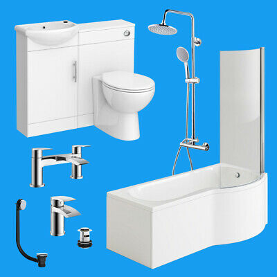 Complete P Shaped Bathroom Suite Toilet Basin Shower Screen Bath Panel Taps Set • 142.99£