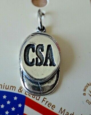 Sterling Silver 3D 18x10mm Civil War Confederate Soldier Hat Cap Says CSA Charm • 18.28£