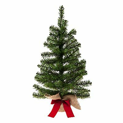 60cm Table Top Christmas Tree With Burlap Base Indoor Use - 510036 • 8.99£
