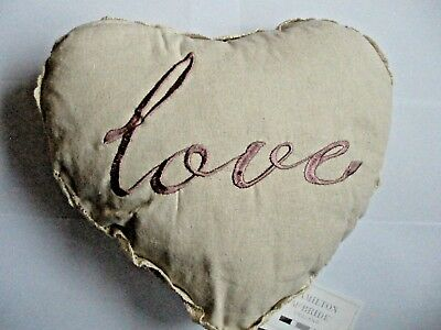 £5.70 • Buy Love Heart Shaped Filled Cushion.Crochet Work, Linen & Pink Embroidery 36 X 30cm