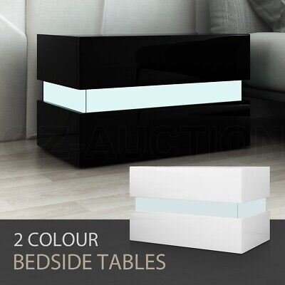 AU99.95 • Buy Bedside Table 2-Drawer Side Nightstand High Gloss Wood Cabinet BK/WH W/RGB LED