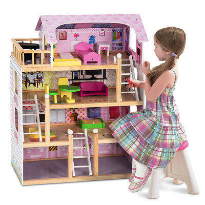 £62.99 • Buy Wooden Kids 3 Storey Doll House With Furniture Accessories Mansion Playhouse Toy