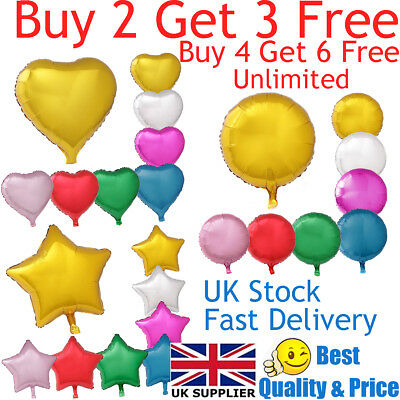 18  Heart Star Round Shape Float Helium Foil Balloons For Party Birthday Wedding • 0.99£