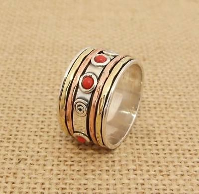 925 Sterling Silver Copper Brass 3 Tone Red Coral Spinning Band Ring Thumb Size • 24.95£