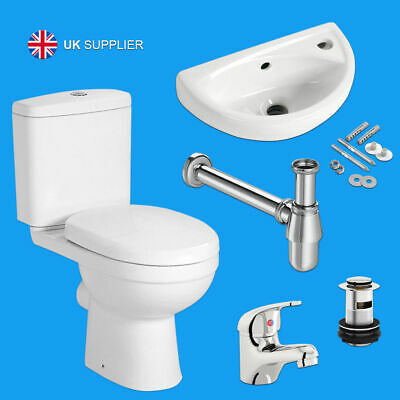 £159.95 • Buy Complete Compact Bathroom Cloakroom Suite Close Coupled WC Toilet Basin Sink Set
