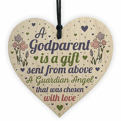 £3.99 • Buy Godparent Gifts For Christening Wood Heart Christmas Decoration Keepsake Plaques
