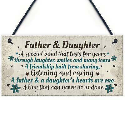 £3.99 • Buy Father And Daughter Gift Plaque Father Gift From Daughter Birthday Xmas Keepsake