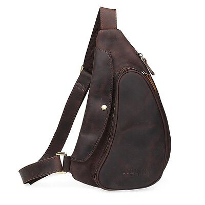 326bce03f826 Men s Genuine Leather Side Waist Bag Shoulder Bag CrossBody Sports Pouch  Brown • 58.90