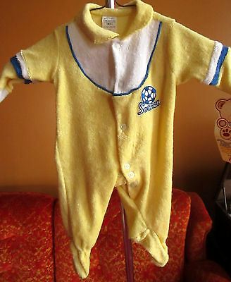 NEW DS NWT VINTAGE 0-3 MONTHS BABY TEDDY BEARS YELLOW SOCCER ONESey ONESY • 30.33£