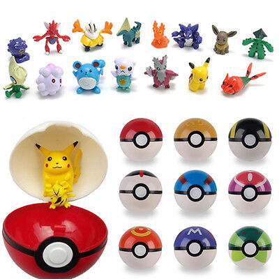 9 Pokemon Pokeball Pop-up 7cm Cartoon Plastic BALL Kids Toy Gift Pikachu Monster • 11.59£