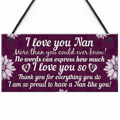 £3.99 • Buy Birthday Christmas Gift For Nan Plaques Special Thank You Gifts For Grandparents
