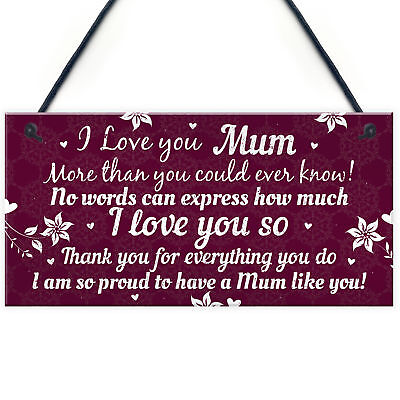 £3.99 • Buy Birthday Christmas Gift For Mum Plaque Special Thank You Gifts From Daughter Son