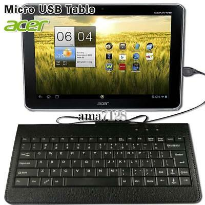 Micro USB Leather Wired Keyboard Plug And Play For 10.1  Acer Iconia Tablet • 5.49£