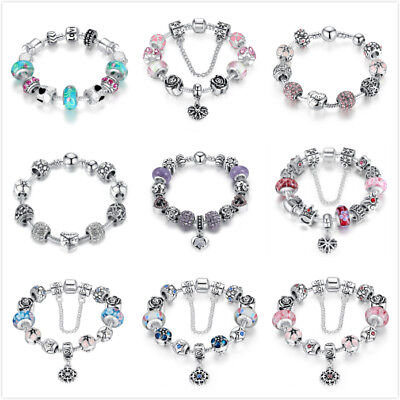 $7.06 • Buy Bamoer European Style 925 Sterling Silver Charms Bracelet With CZ Bead For Women