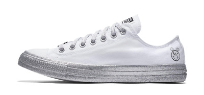 a58b1288fc69 New Converse X Miley Cyrus Chuck Taylor All Star White Silver Glitter  162238C • 43.99