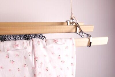 £71.50 • Buy Indoor Ceiling Pulley Clothes Rack Airer Dryer Cast Iron Vintage 4 Wooden Laths