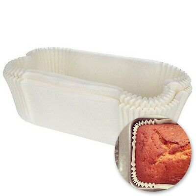 40x RECTANGLE CAKE TIN LINERS Greaseproof Paper Baking Cooking Banana Bread Loaf • 7.51£