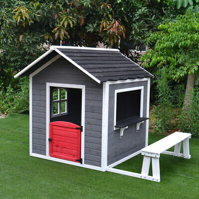 AU399 • Buy Kids Cubby House Wooden Outdoor Furniture Playhouse With Bench