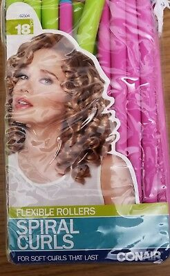 AU10.33 • Buy Conair Flexible Rollers Spiral Curls For Soft Curls That Last - 18 Count