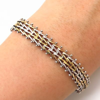 $55.99 • Buy 925 Sterling Silver Italy 2-Tone  W -Design Foxtail Link Bracelet 7